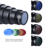 Conical Flash Snoot Light Modifier w/ 50 Degree Honeycomb Color Filter Universal for Photography On-camera Speedlite