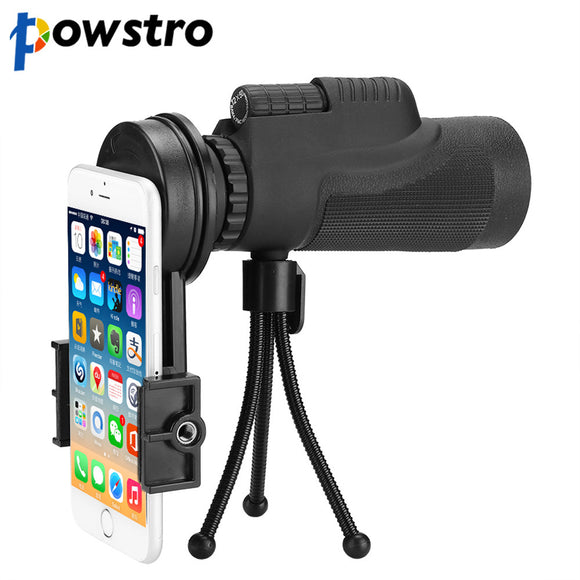 Powstro Universal 12x50 Monocular Zoom HD Telescope Cell Phone Lens Observing Survey Camping Telescope With Clip For Smartphones