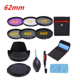 52 55 58 62 67 72 77mm Slim UV CPL FLD ND2 ND4 ND8 Neutral Density Photography Filter Kit +Lens hood Cap For Camera Video Lens