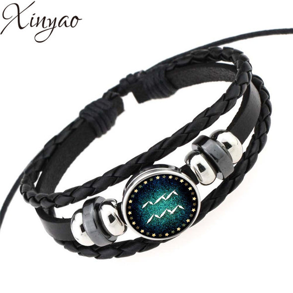 Braided Leather Constellation Bracelet & Bangles