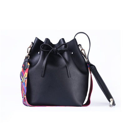 Colorful Strap Bucket Bag Leather Shoulder Bag