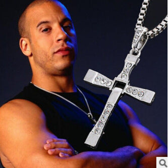 Classic Rhinestone Pendant Sliver Cross Necklace (From The Fast And The Furious)