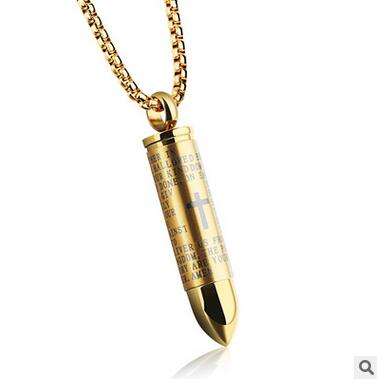 Lord's Prayer Cross Bullet Necklace