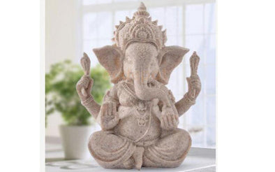 Hand Carved Sandstone Elephant Hindu Statue Decor