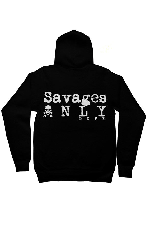'Savages ONLY' Unisex Black Zip Hoodie - Doomsday Fitness Apparel by Doomsday Fitness Experience