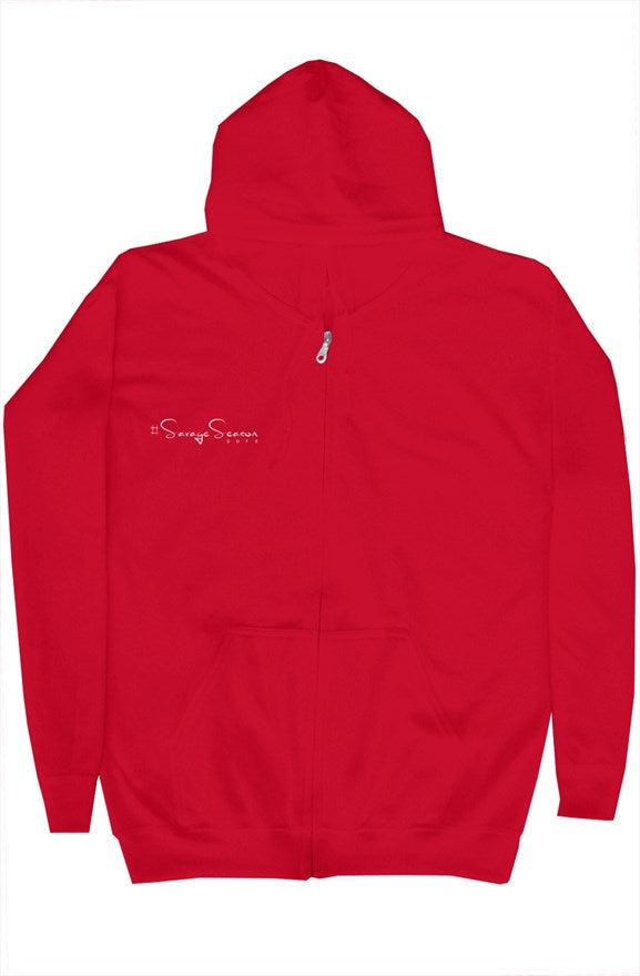 'Savages ONLY' Unisex Red Zip Hoodie - Savage Season Apparel Store