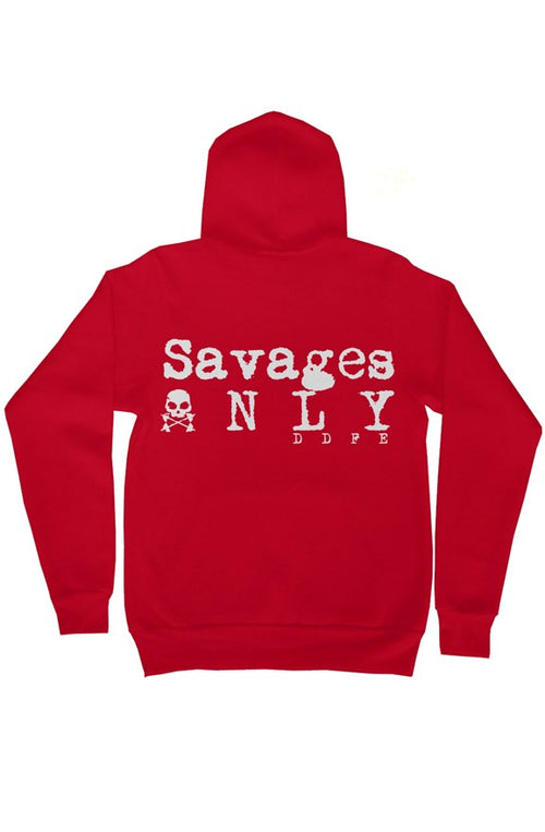 'Savages ONLY' Unisex Red Zip Hoodie - Doomsday Fitness Apparel by Doomsday Fitness Experience