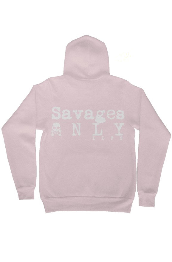 'Savages ONLY' Unisex Light Pink Zip Hoodie - Savage Season Apparel Store