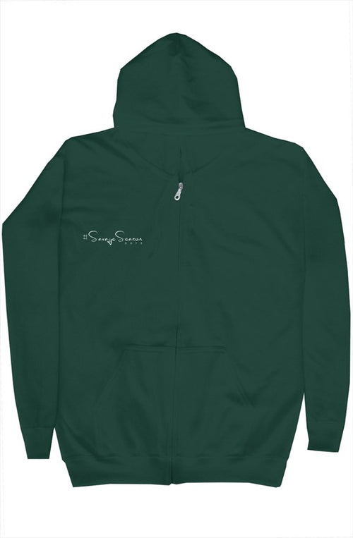 'Savages ONLY' Unisex Green Zip Hoodie - Doomsday Fitness Apparel by Doomsday Fitness Experience