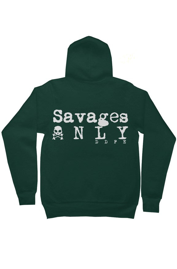 'Savages ONLY' Unisex Green Zip Hoodie - Savage Season Apparel Store