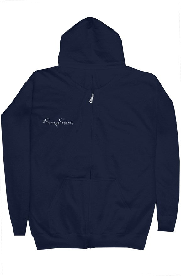 'Savages ONLY' Unisex Blue Zip Hoodie - Savage Season Apparel Store