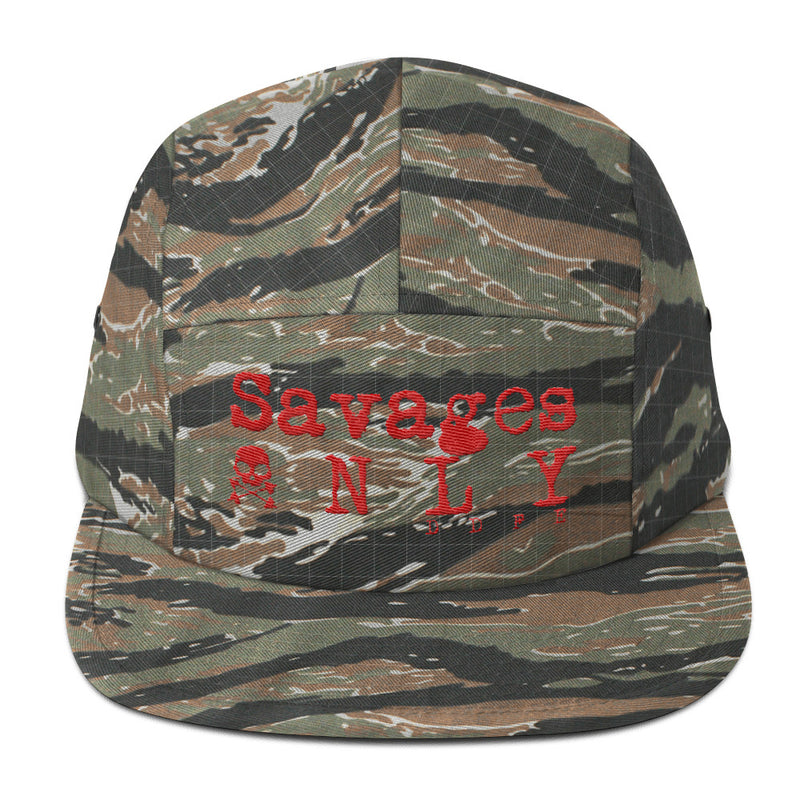 'Savages ONLY' Tiger Camo 5 Panel Cap - Doomsday Fitness Apparel by Doomsday Fitness Experience