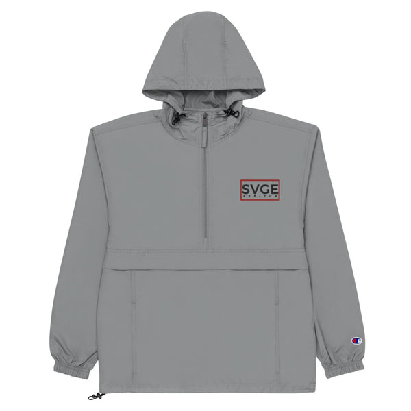 SVGE x Champion Grey Packable Performance Jacket - Savage Season Apparel Store