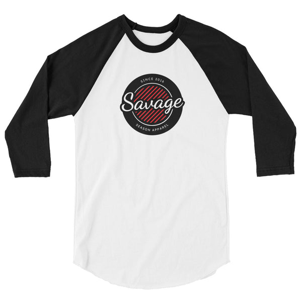 'Savage Season' 3/4 Black x White Raglan - Savage Season Apparel Store
