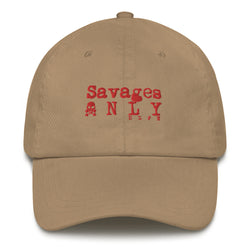 'Savages ONLY' Khaki Dad hat - Savage Season Apparel Store