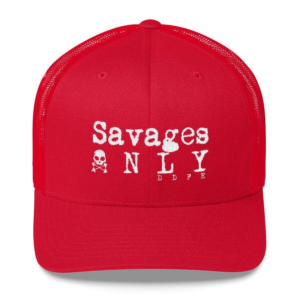 'Savages ONLY' Battle Red Trucker Cap - Savage Season Apparel Store