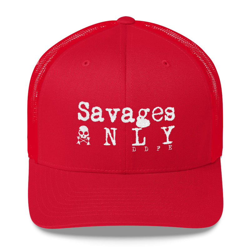 'Savages ONLY' Battle Red Trucker Cap - Doomsday Fitness Apparel by Doomsday Fitness Experience