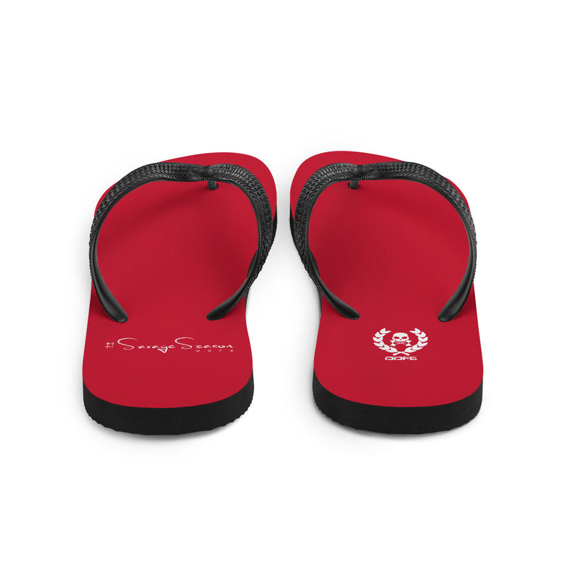 'DDFE' Red Flip-Flops - Savage Season Apparel Store