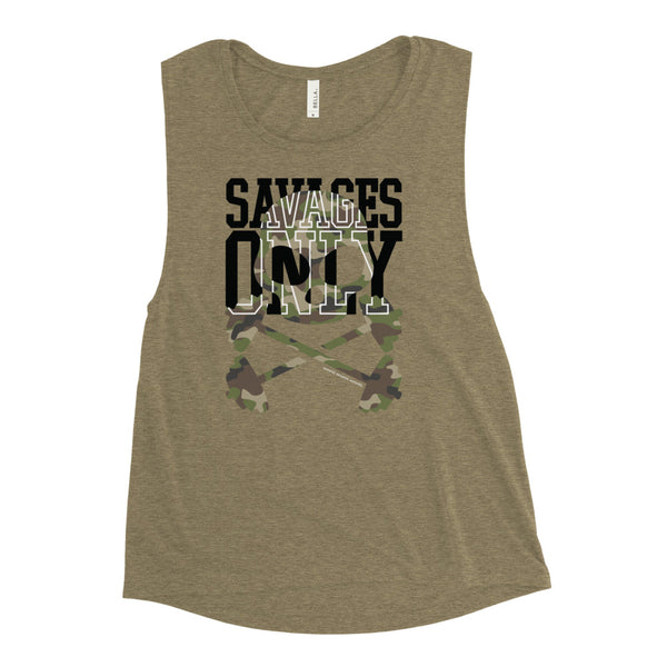 'Savages Only' Ladies' Olive Muscle Tank - Savage Season Apparel Store