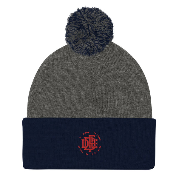 Premium Collection 'DDFE' Blue x Grey Pom-Pom Beanie - Savage Season Apparel Store