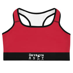 'Savages ONLY' Red Sports Bra - Savage Season Apparel Store