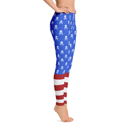 'Skulls & Stripes' Leggings - Doomsday Fitness Apparel by Doomsday Fitness Experience