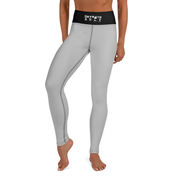 'Savages ONLY' High Waist Heather Grey Performance Leggings - Savage Season Apparel Store