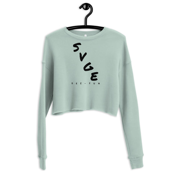 SVGE Collection Blue Dust Crop Sweatshirt - Savage Season Apparel Store