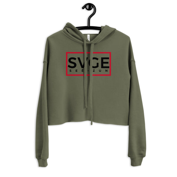 SVGE Collection Olive Crop Hoodie - Savage Season Apparel Store