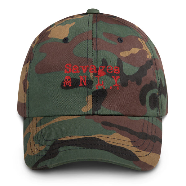 'Savages ONLY' Camo Dad hat - Savage Season Apparel Store