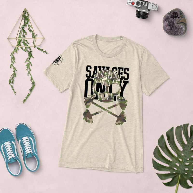 Premium Collection Tan 'Savages ONLY' T-shirt - Savage Season Apparel Store