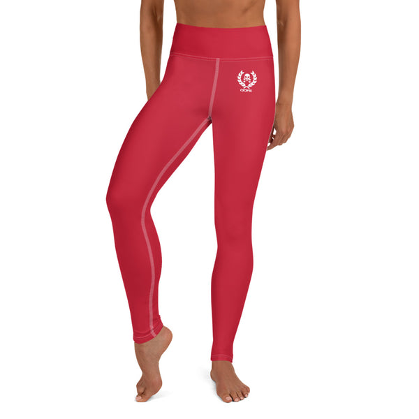 'DDFE' High Waist Red Performance Leggings - Savage Season Apparel Store