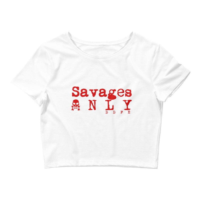 'Savages ONLY' Women's White Crop Tee - Savage Season Apparel Store