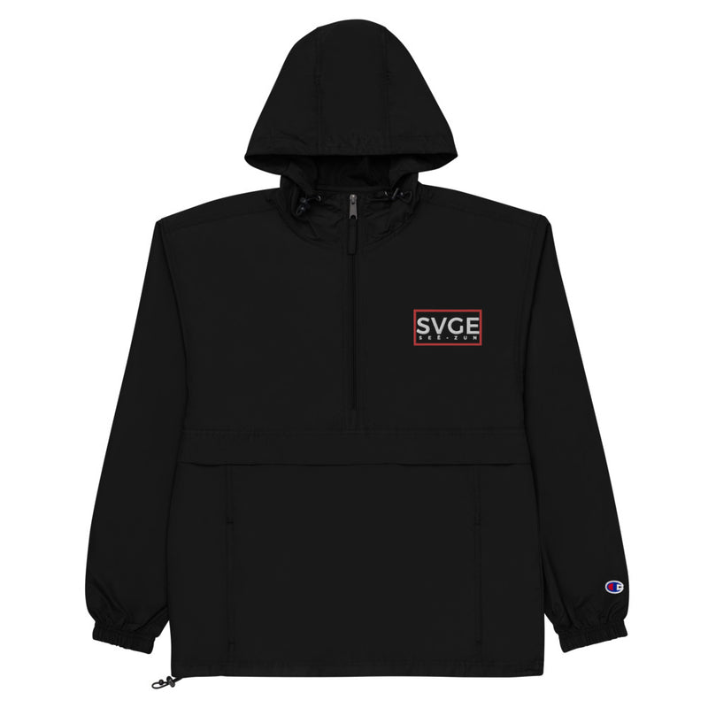 SVGE x Champion Black Packable Performance Jacket - Savage Season Apparel Store