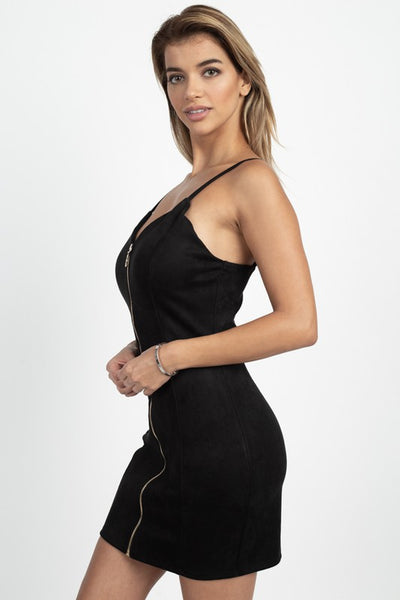 Simple Black Zipper Dress