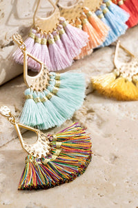 Nikita Tassel Pendant Earrings - 4 Color Options