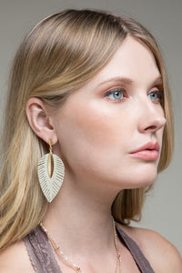 Eleesa Leaf Leather Earrings - 3 Color Options