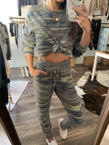 Simmy Super Soft Lounge Set - Camo - SIZE XS