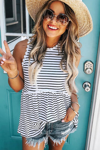 Raine Striped Peplum Tank