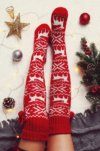 Christmas Elk Knee Socks - Red