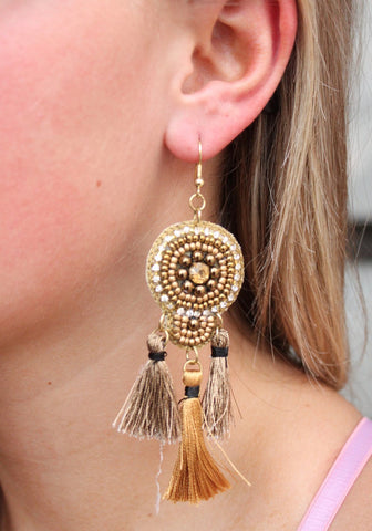 Fran Beaded Triple Tassel Drop Earring