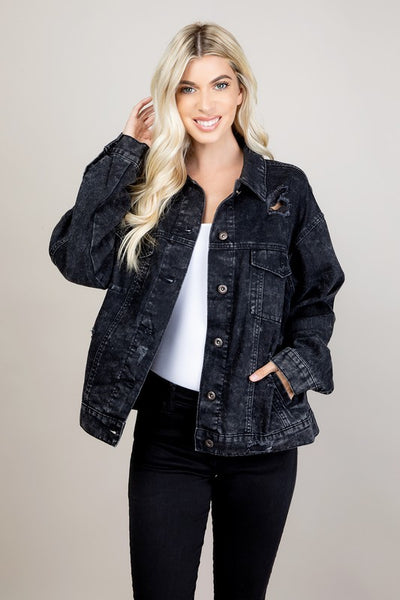 Jensyn Black Denim Jacket - SIZE SMALL