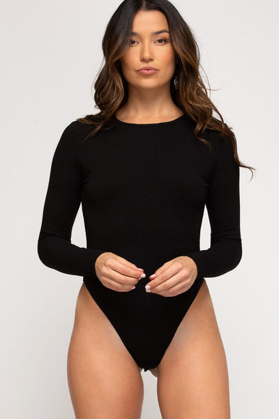 Karin Long Sleeve Bodysuit - Black