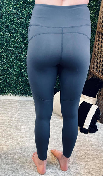 Laurel High Impact Leggings - Grey Blue