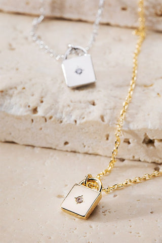 Maeve Mini Lock Necklace - 2 Color Options