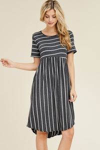 Magda Swing Stripe Dress - Charcoal - SIZE SMALL