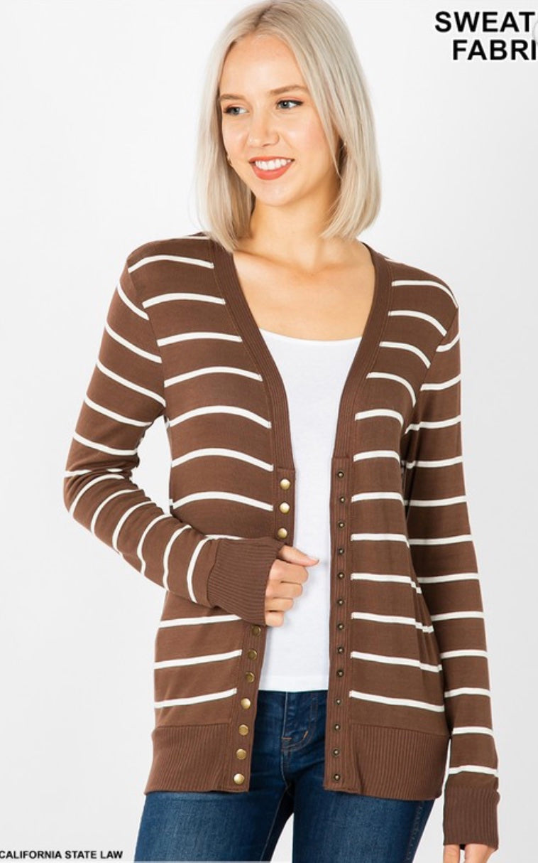 Maylin Striped Snap Cardigan - 3 Color Options