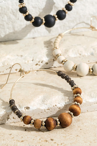 Mina Wooden Beaded Hoops - 3 Color Options