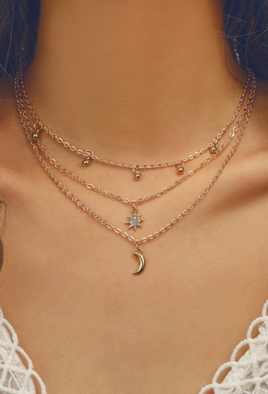 Misty Moon Charm Necklace