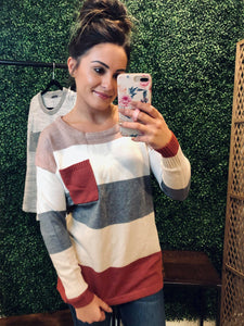 Retta Colorblock Pocket Sweater - Mauve